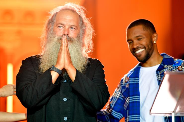 Legendary Genius Award winner Rick Rubin (L) and Frank Ocean speak onstage at Spotify's Inaugural Secret Genius Awards hosted by Lizzo at Vibiana on November 1, 2017 in Los Angeles, California