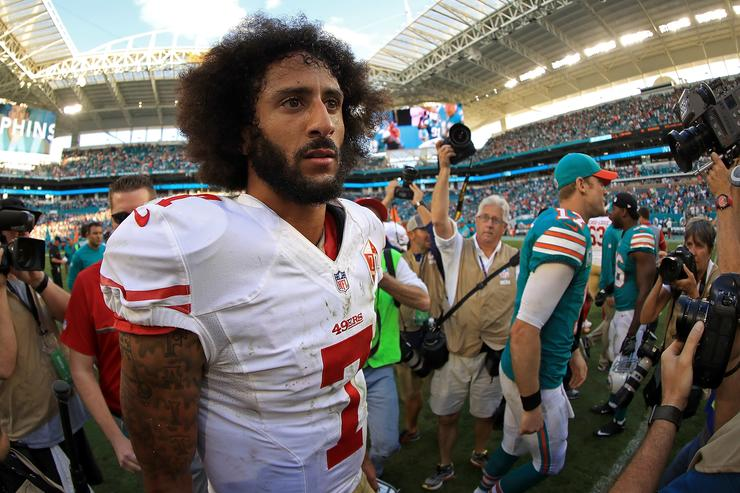 Colin Kaepernick #7 of the San Francisco 49ers looks on during a game against the Miami Dolphins on November 27, 2016 in Miami Gardens, Florida