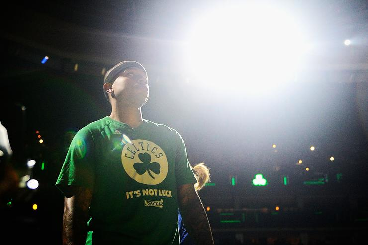 Isaiah Thomas #4 of the Boston Celtics looks on prior to Game Two of the 2017 NBA Eastern Conference Finals against the Cleveland Cavaliers at TD Garden on May 19, 2017 in Boston, Massachusetts