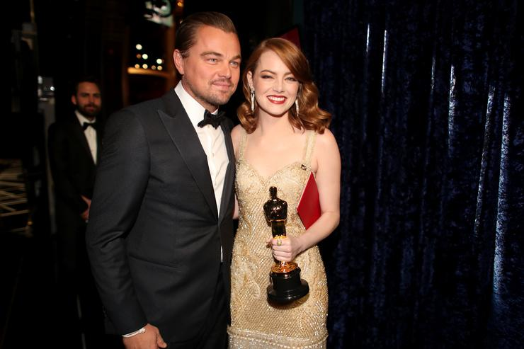 Actor Leonardo DiCaprio (L) and actress Emma Stone, winner of Best Actress for 'La La Land' backstage during the 89th Annual Academy Awards at Hollywood & Highland Center on February 26, 2017 in Hollywood, California