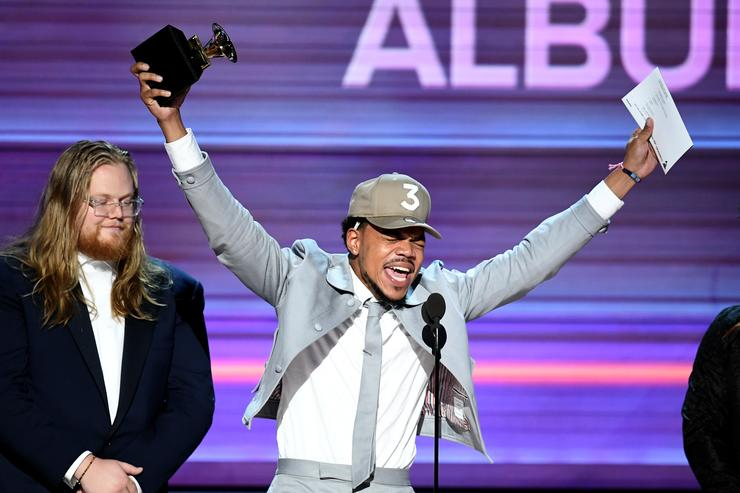 Recording artist Chance the Rapper accepts the Best Rap Album award for 'Coloring Book' onstage during The 59th GRAMMY Awards at STAPLES Center on February 12, 2017 in Los Angeles, California