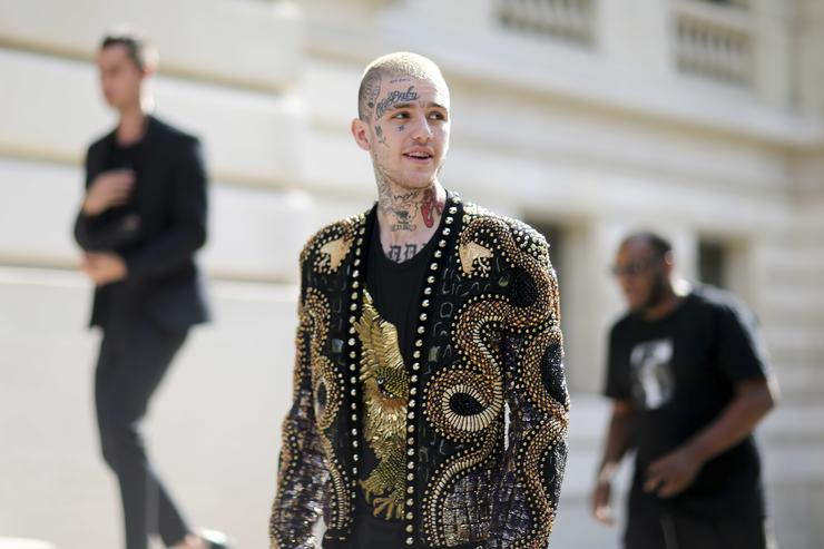 Lil Peep attends the Balmain Menswear Spring/Summer 2018 show as part of Paris Fashion Week on June 24, 2017 in Paris, France