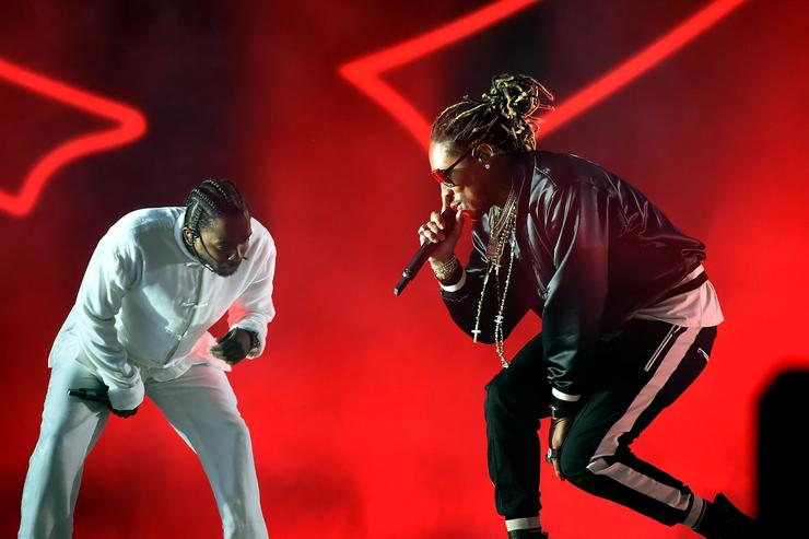 Rappers Kendrick Lamar and Future perform on the Coachella Stage during day 3 of the Coachella Valley Music And Arts Festival (Weekend 1) at the Empire Polo Club on April 16, 2017 in Indio, California