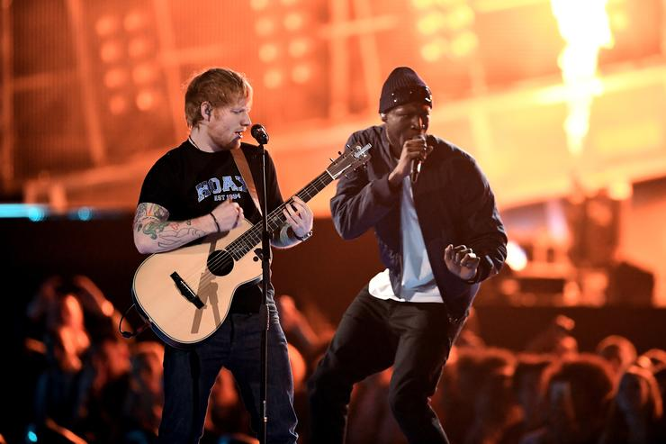 Ed Sheeran and Stormzy perform on stage at The BRIT Awards 2017 at The O2 Arena on February 22, 2017 in London, England