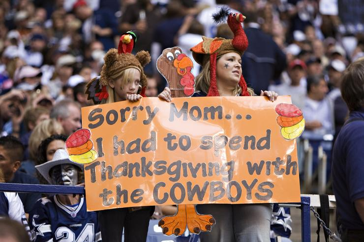Fans of the Dallas Cowboys send a message home at Thanksgiving during a game against the Seattle Seahawks at Texas Stadium on November 27, 2008 in Irving, Texas. The Cowboys defeated the Buccaneers 34-9