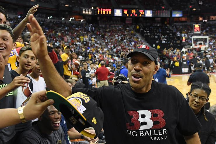 LaVar Ball, father of Lonzo Ball #2 of the Los Angeles Lakers, greets fans at halftime of a 2017 Summer League game between the Lakers and the Los Angeles Clippers at the Thomas & Mack Center on July 7, 2017 in Las Vegas, Nevada