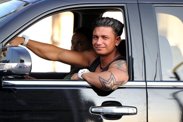 Paul 'Pauly D' DelVecchio films 'Jersey Shore' on location on August 31, 2010 in Seaside Heights, New Jersey