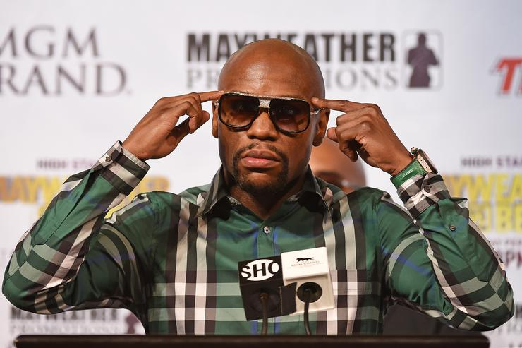 Boxer Floyd Mayweather Jr. speaks during a news conference at MGM Grand Hotel & Casino on September 9, 2015 in Las Vegas, Nevada. Mayweather will defend his WBC/WBA welterweight titles against Andre Berto on September 12 at MGM Grand in Las Vegas