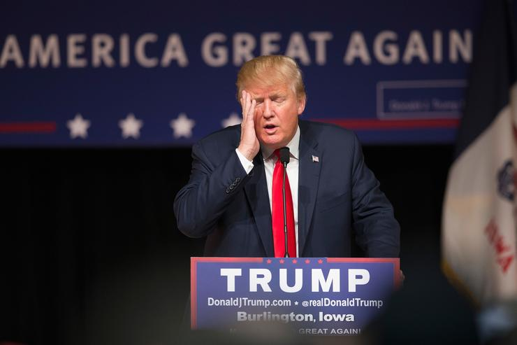 Republican presidential candidate Donald Trump speaks to guests at a campaign rally at Burlington Memorial Auditorium on October 21, 2015 in Burlington, Iowa. Trump leads most polls in the race for the Republican presidential nomination
