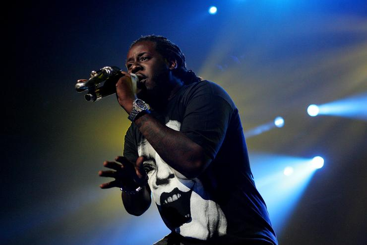 Hip pop singer T-Pain, supporting Akon performs on stage at the Acer Arena on October 27, 2009 in Sydney, Australia