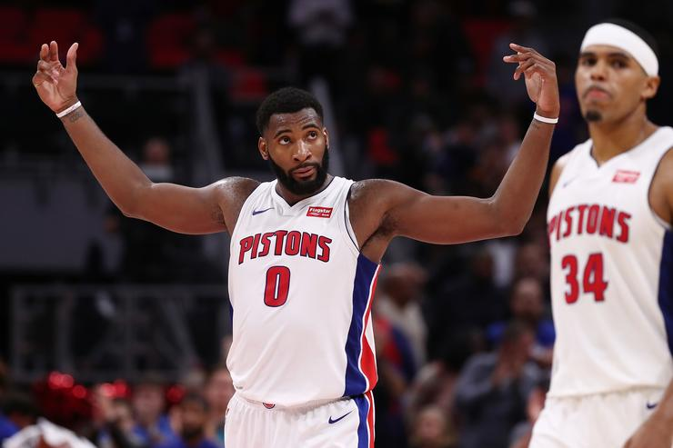 Andre Drummond #0 of the Detroit Pistons celebrates a 105-96 win over the Milwaukee Bucks at Little Caesars Arena on November 3, 2017 in Detroit, Michigan