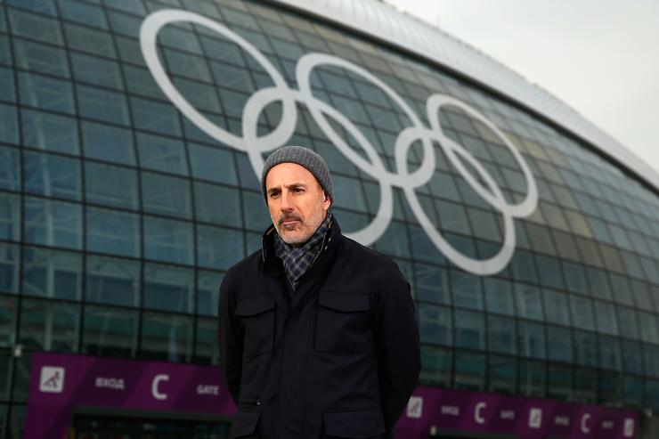 Matt Lauer reports for the NBC Today show in the Olympic Park ahead of the Sochi 2014 Winter Olympics on February 5, 2014 in Sochi, Russia