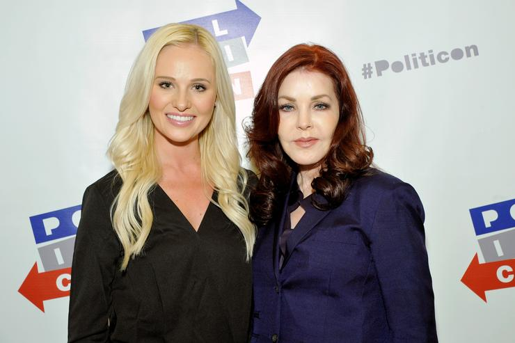 Tomi Lahren (L) and Priscilla Presley at Politicon at Pasadena Convention Center on July 29, 2017 in Pasadena, California