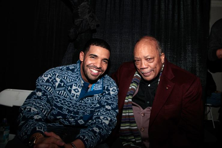 Drake and Quincy Jones attend Comedy with Aziz Ansari and a Drake Performance presented by Bing at The Bing Bar on January 21, 2012 in Park City, Utah