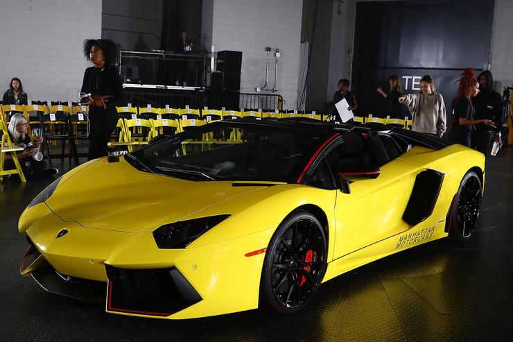 A yellow Lamborghini is seen at rehearsals for the VFILES show during New York Fashion Week at Barclays Center of Brooklyn on September 6, 2017 in New York City