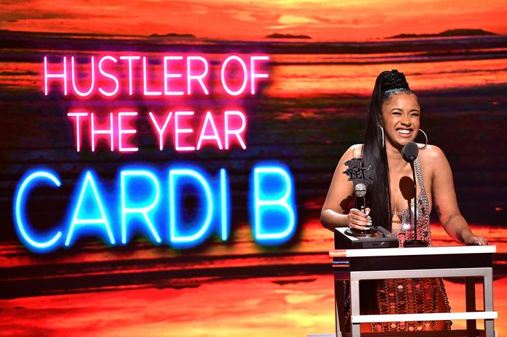 Rapper Cardi B accepts the award for 'Hustler of the Year' onstage during the BET Hip Hop Awards 2017 at The Fillmore Miami Beach at the Jackie Gleason Theater on October 6, 2017 in Miami Beach, Florida