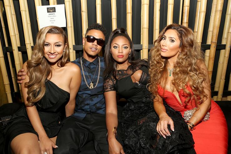 TV personalities Amanda Secor, Fizz, Teairra Mari and Nikki Mudarris attend the Love & Hip Hop: Hollywood Premiere Event on September 9, 2014 in Hollywood, California.