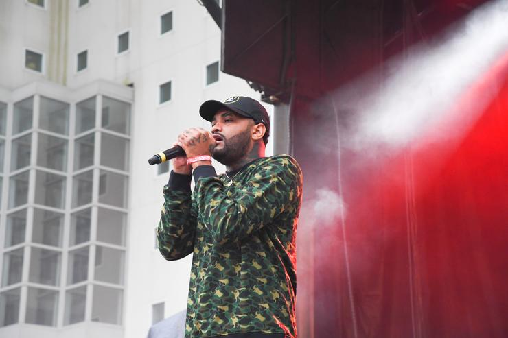 Rapper Joyner Lucas performs onstage in concert during 2017 A3C Festival at Georgia Freight Depot on October 8, 2017 in Atlanta, Georgia