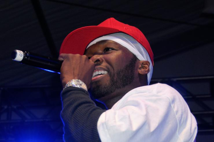 Rapper 50 Cent performs at the Celebrity Beach Bowl presented by Matt Leinart at the Scottsdale Waterfront at Stetson Canal on January 31, 2008 in Scottsdale, Arizona
