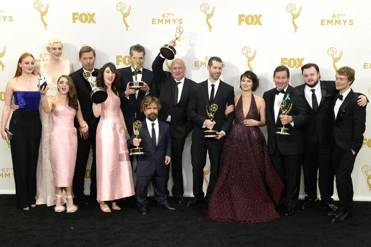 Actors Sophie Turner, Gwendoline Christie, Maisie Williams, Nikolaj Coster-Waldau, Carice van Houten, writer David Benioff, actor Peter Dinklage, Conleth Hill, writer D. B. Weiss, Lena Headey, director David Nutter and actors John Bradley-West and Alfie Allen, winners of Outstanding Drama Series for 'Game of Thrones', pose in the press room at the 67th Annual Primetime Emmy Awards at Microsoft Theater on September 20, 2015 in Los Angeles, California