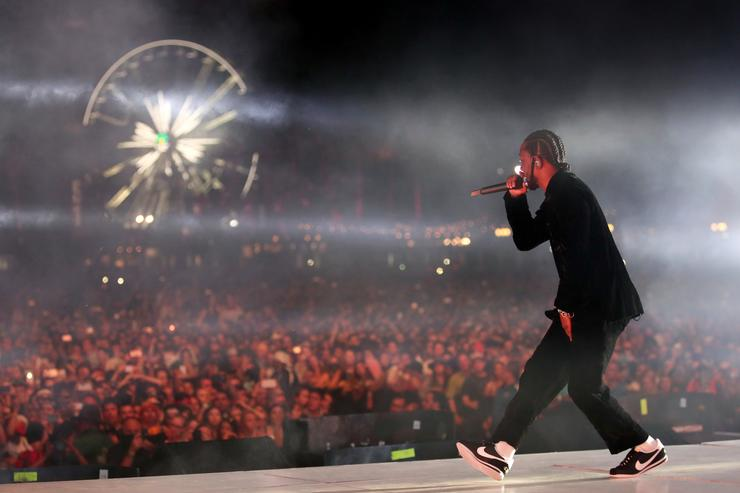 Rapper Kendrick Lamar performs on the Coachella Stage during day 3 of the Coachella Valley Music And Arts Festival (Weekend 1) at the Empire Polo Club on April 16, 2017 in Indio, California
