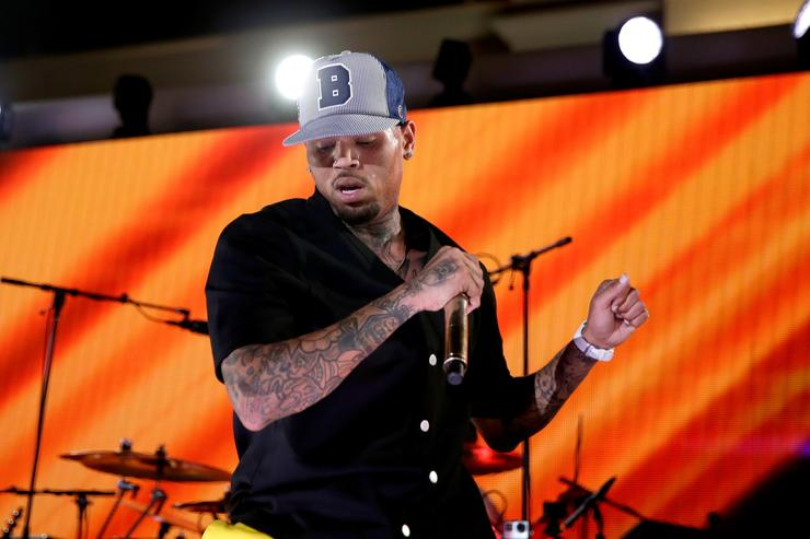 Recording artist Chris Brown performs onstage during The iHeartRadio Summer Pool Party at Caesars Palace on May 30, 2015 in Las Vegas, Nevada