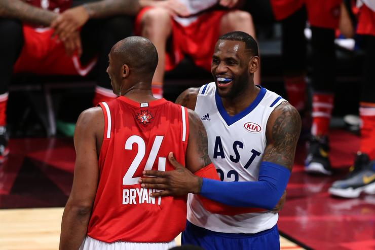 Kobe Bryant #24 of the Los Angeles Lakers and the Western Conference and LeBron James #23 of the Cleveland Cavaliers and the Eastern Conference laugh after a play in the first half during the NBA All-Star Game 2016 at the Air Canada Centre on February 14, 2016 in Toronto, Ontario