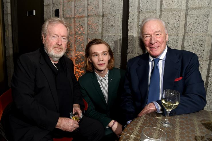 Director Ridley Scott, actors Charlie Plummer and Christopher Plummer attend the after party for the premiere of Sony Pictures Entertainment's 'All the Money in The World' at the Samuel Goldwyn Theatre on December 18, 2017 in Beverly Hills, California