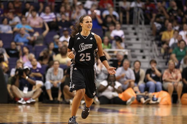 Becky Hammon #25 of the San Antonio Silver Stars reacts during the WNBA game against the Phoenix Mercury at US Airways Center on August 20, 2011 in Phoenix, Arizona. The Mercury defeated the Silver Stars 87-81