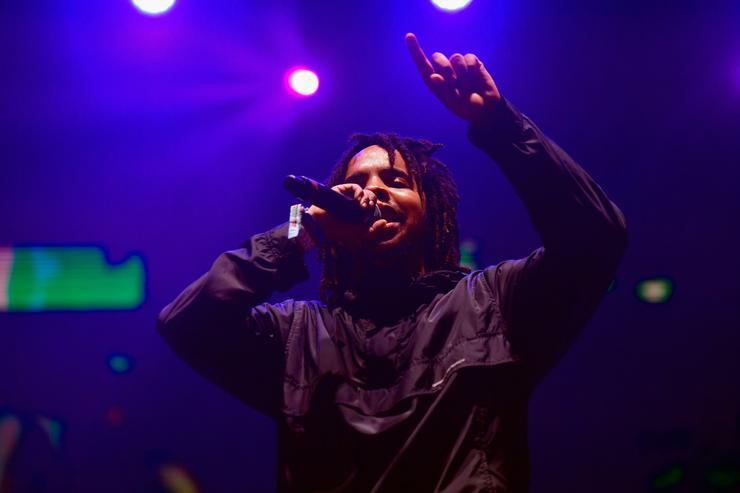 Earl Sweatshirt performs on the Flog Stage during day 2 of Camp Flog Gnaw Carnival 2017 at Exposition Park on October 29, 2017 in Los Angeles, California