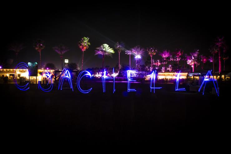 A light painting on the terrace during day 2 of the 2015 Coachella Valley Music And Arts Festival (Weekend 2) at The Empire Polo Club on April 18, 2015 in Indio, California