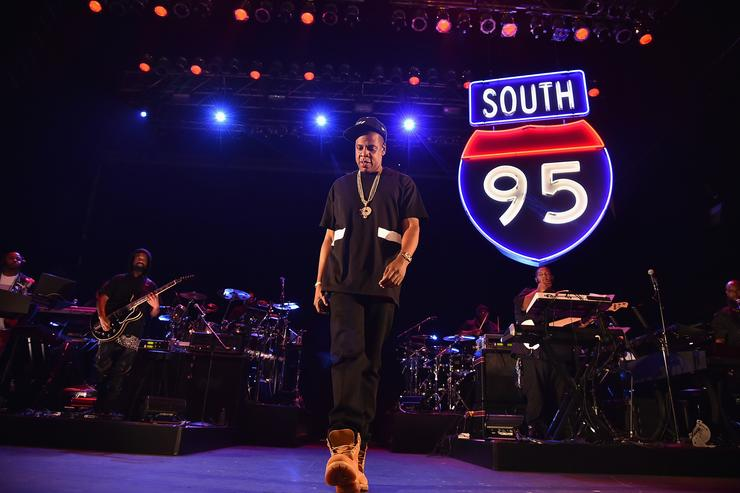 Jay Z performs during TIDAL X: Jay-Z B-sides in NYC on May 16, 2015 in New York City