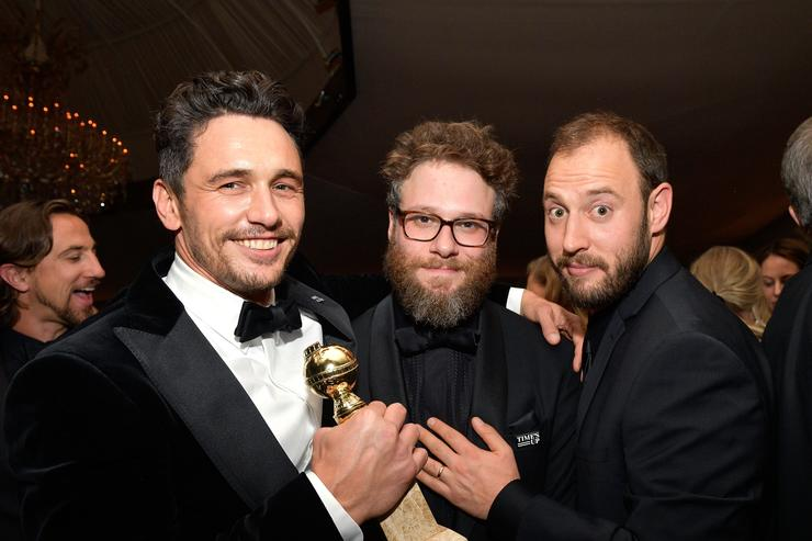 Actors James Franco, Seth Rogen, and screenwriter Evan Goldberg attend the 2018 InStyle and Warner Bros. 75th Annual Golden Globe Awards Post-Party at The Beverly Hilton Hotel on January 7, 2018 in Beverly Hills, California