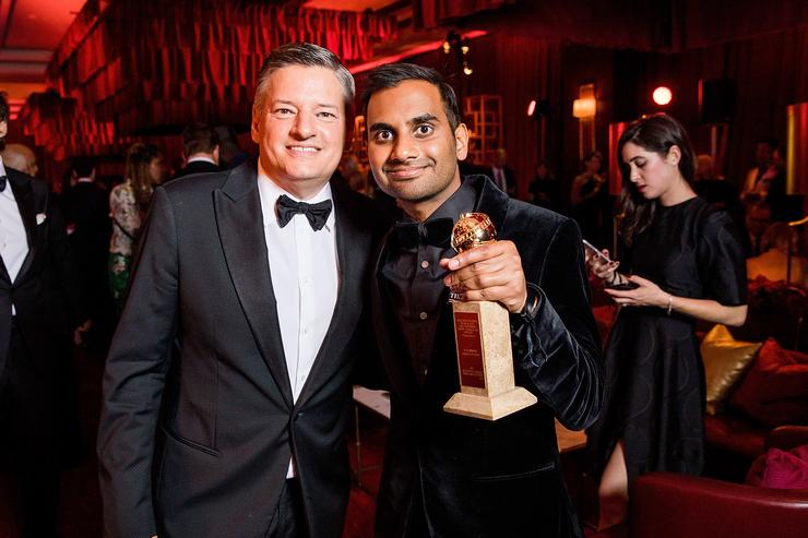 In this handout photo provided by Netflix, Netflix Chief Content Officer, Ted Sarandos and Aziz Ansari attend the Netflix Golden Globes after party at Waldorf Astoria Beverly Hills on January 7, 2018 in Beverly Hills, California