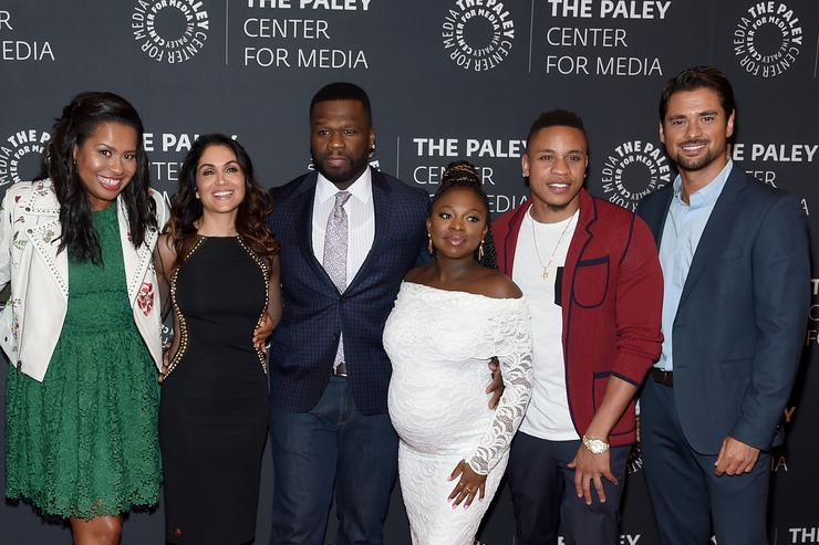 'Power' creator Courtney A. Kemp,Lela Loren,Curtis '50 Cent' Jackson,Naturi Naughton,Rotimi Akinosho and J.R. Ramirez attend the PaleyLive NY Presents An Evening With The Cast And Creative Team Of 'Power' at The Paley Center for Media on July 12, 2017 in New York City