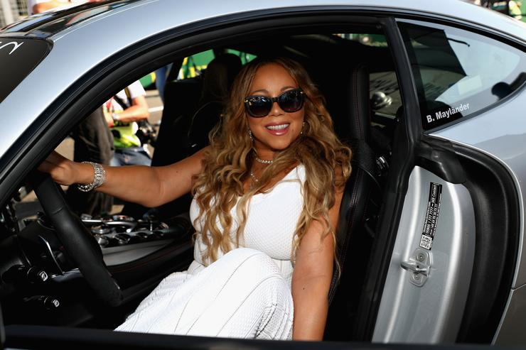 Singer Mariah Carey poses for a photo in the saftey car on the grid before the Azerbaijan Formula One Grand Prix at Baku City Circuit on June 25, 2017 in Baku, Azerbaijan