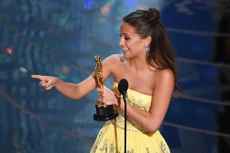 Actress Alicia Vikander accepts the Best Supporting Actress award for 'The Danish Girl' onstage during the 88th Annual Academy Awards at the Dolby Theatre on February 28, 2016 in Hollywood, California
