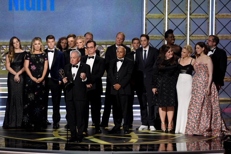 The cast and crew of Saturday Night Live accepts the Outstanding Variety Sketch Series award onstage during the 69th Annual Primetime Emmy Awards at Microsoft Theater on September 17, 2017 in Los Angeles, California