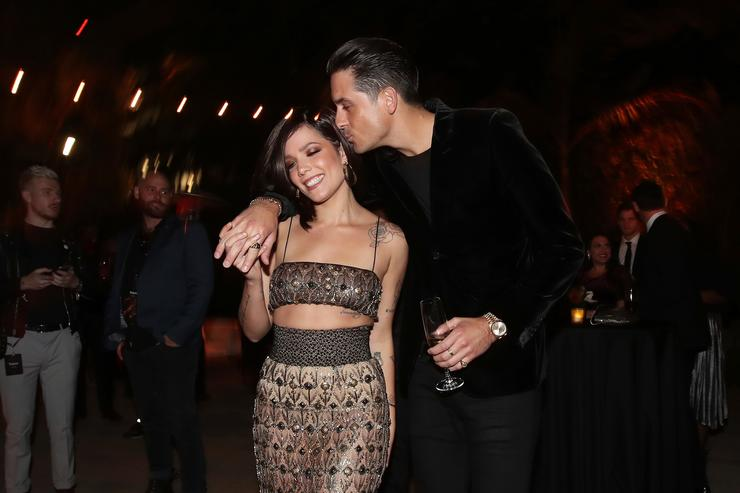 Halsey (L) and G-Eazy attend Spotify's Inaugural Secret Genius Awards hosted by Lizzo at Vibiana on November 1, 2017 in Los Angeles, California