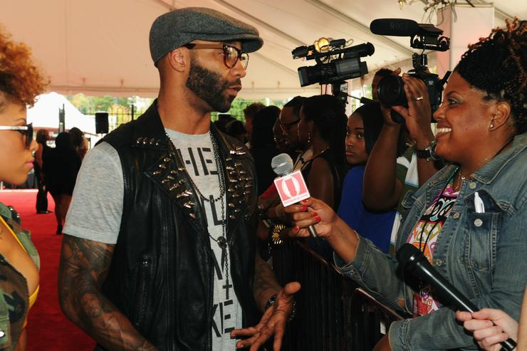Kaylin Garcia and Joe Budden attend the 2012 BET Hip Hop Awards at Boisfeuillet Jones Atlanta Civic Center on September 29, 2012 in Atlanta, Georgia