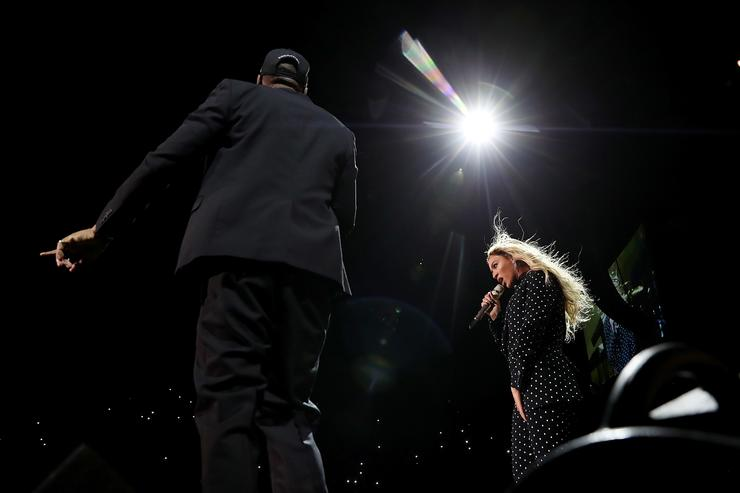 Recording artists Beyonce and Jay Z perform during a Get Out The Vote concert for Democratic presidential nominee Hillary Clinton at Wolstein Center on November 4, 2016 in Cleveland, Ohio. With less than a week to go until election day, Hillary Clinton is campaigning in Pennsylvania, Ohio and Michigan