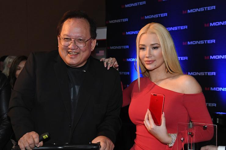 Monster Inc. Founder and CEO Noel Lee (L) and rapper Iggy Azalea pose after a press event for CES 2018 at the Mandalay Bay Convention Center on January 8, 2018 in Las Vegas, Nevada. CES, the world's largest annual consumer technology trade show, runs from January 9-12 and features about 3,900 exhibitors showing off their latest products and services to more than 170,000 attendees