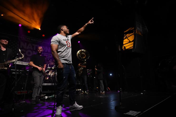 Rapper Nelly performs with the Roots during Live Nation's celebration of The 3rd Annual National Concert Day at Irving Plaza on May 1, 2017 in New York City