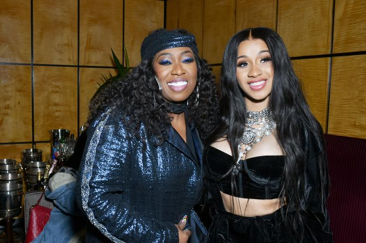 Missy Elliott (L) and Cardi B attend the Warner Music Group Pre-Grammy Party in association with V Magazine on January 25, 2018 in New York City
