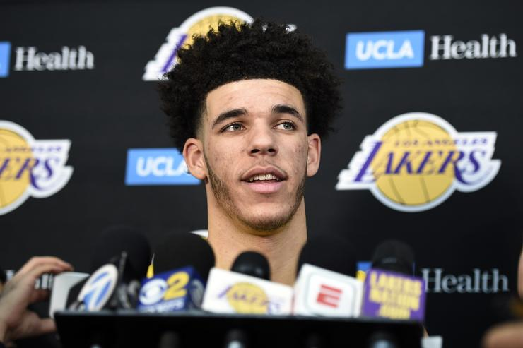 Lonzo Ball #2 of the Los Angeles Lakers speaks during media day September 25, 2017, in El Segundo, California