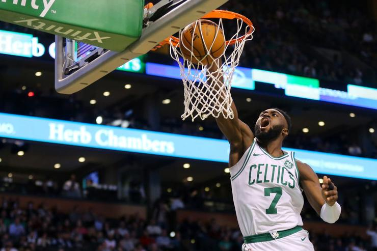 Boston Celtics star Jaylen Brown suffers horrific fall against Minnesota Timberwolves