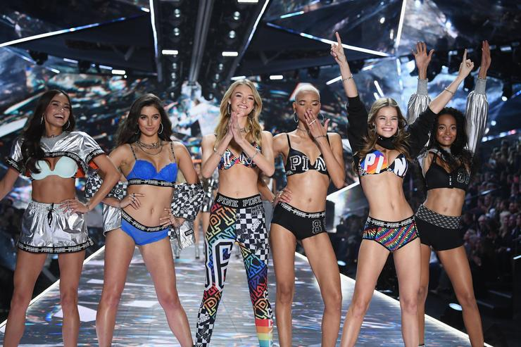 Kelsey Merritt, Maia Cotton, Willow Hand, Iesha Hodges, Myrthe Bolt, and Melie Tiacoh walk the runway during the 2018 Victoria's Secret Fashion Show at Pier 94 on November 8, 2018 in New York City
